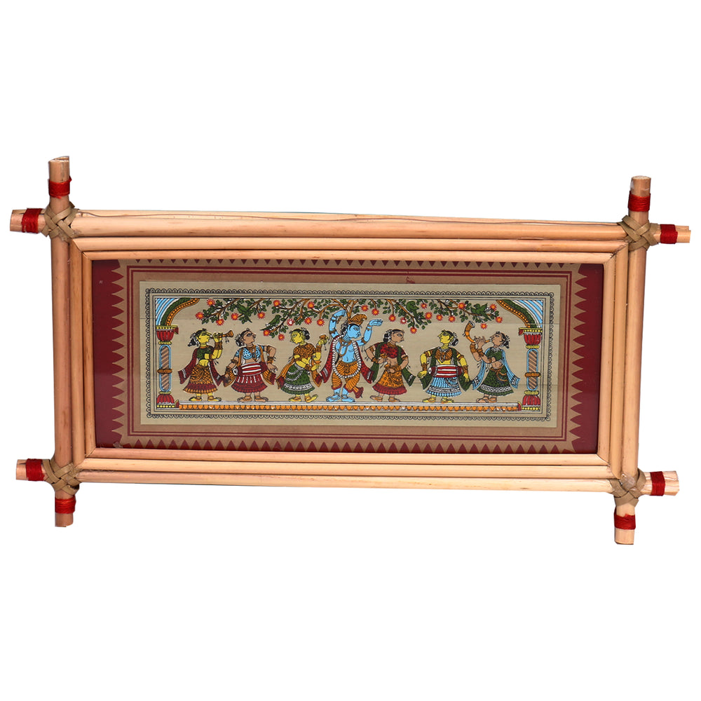Lemon grass frame of Lord krishna on palmleaf for Wall hangings WD38