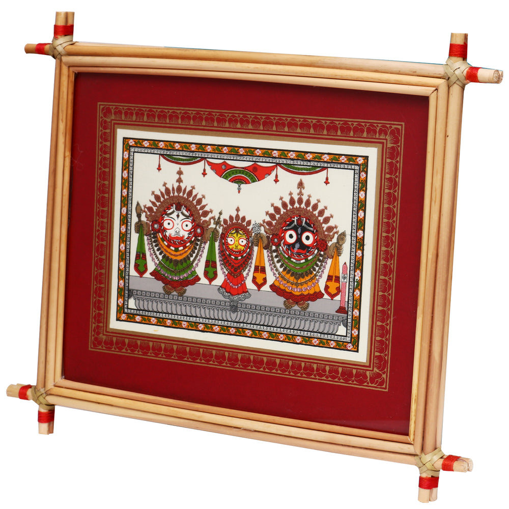 Lemon grass frame of Lord Puri jagannath on tussar for Wall hangings WD41