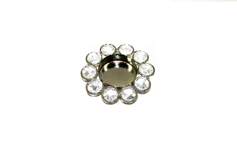 Crystal tealight candle holder (silver colour)  Precaution- Hold carefully after the candle has been lit. L58