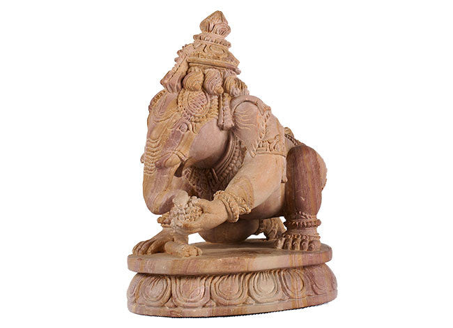 Decorative,Unique and Stunning Stone Statue of Kneeling Ganesha STONE2