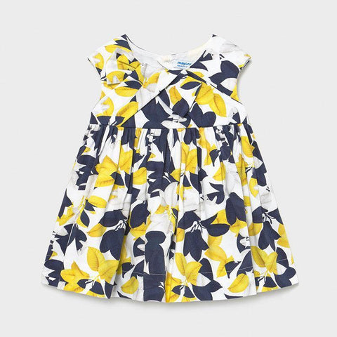 Mayoral Satin printed dress yellow - Petit Bébé