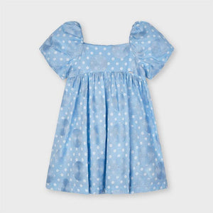 Mayoral dotted embroided dress lightblue - Petit Bébé