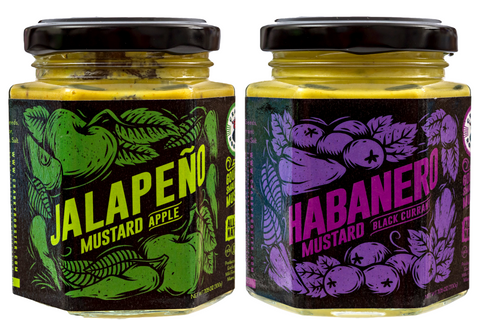 SMALL BATCH SPICY MUSTARD: JALAPENO-APPLE & HABANERO-BLACK CURRANT