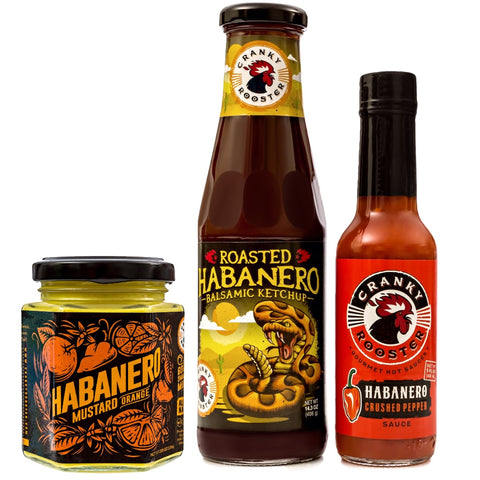 HABANERO/ORANGE MUSTARD, BALSAMIC KETCHUP & HOT SAUCE GIFT SET