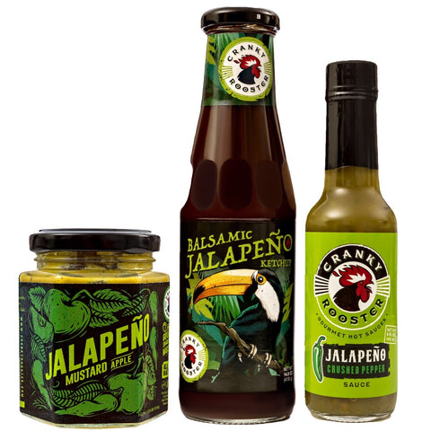 JALAPENO/APPLE MUSTARD, BALSAMIC KETCHUP & HOT SAUCE GIFT SET