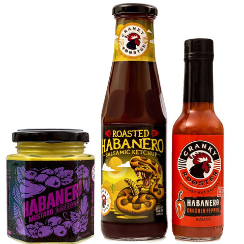HABANERO/BLACK CURRANT MUSTARD, BALSAMIC KETCHUP & HOT SAUCE GIFT SET