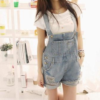 Loose Ripped Denim Dungarees - Mistics