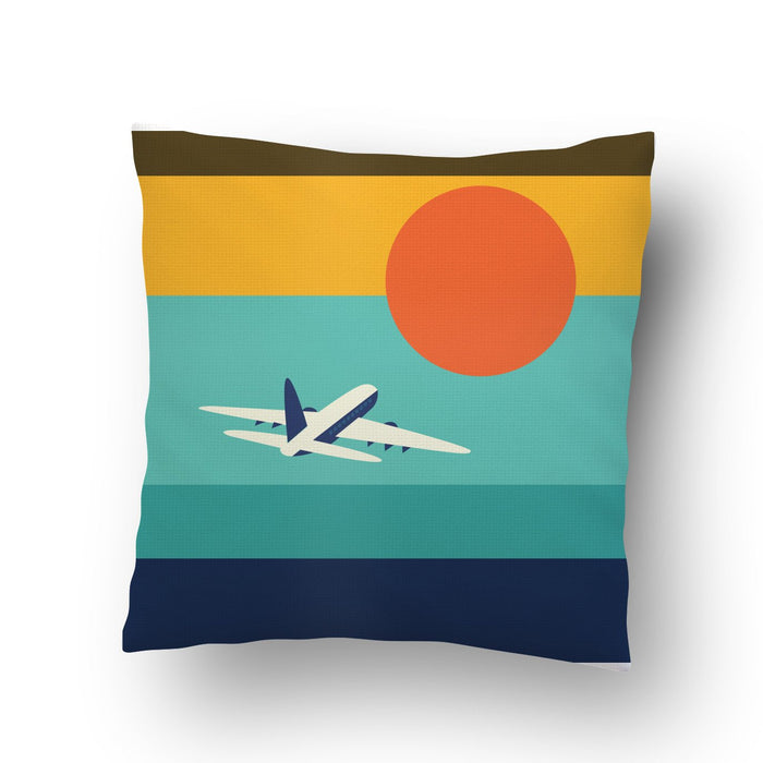 Plane in Sunset Cushion cover
