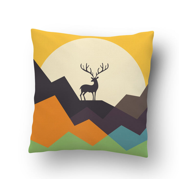 Deer On Mountain Cushion Cover - Mistics