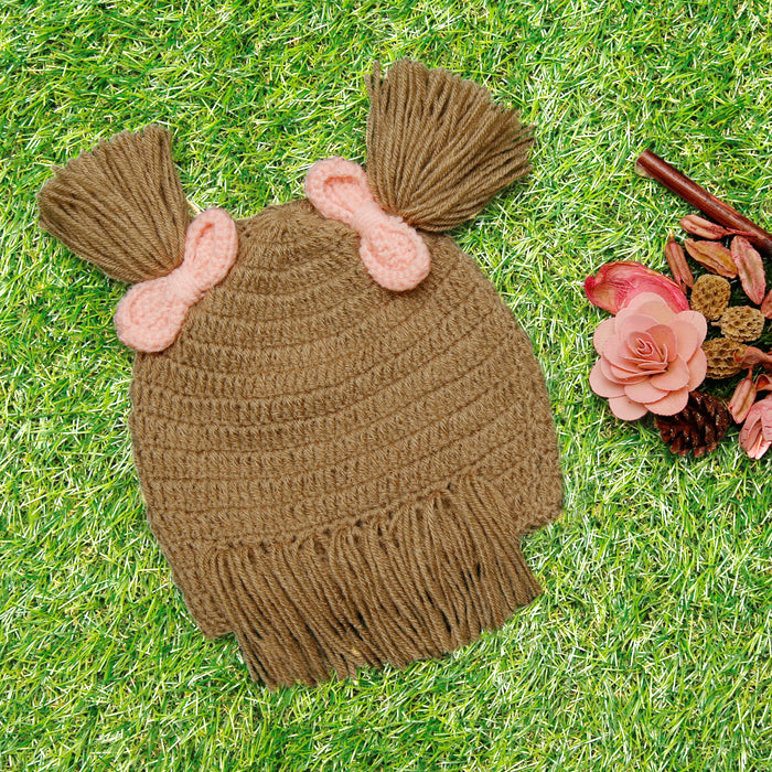 Pure Wool Shabby Chic Brown Cap With Bows For Baby Girls - Mistics