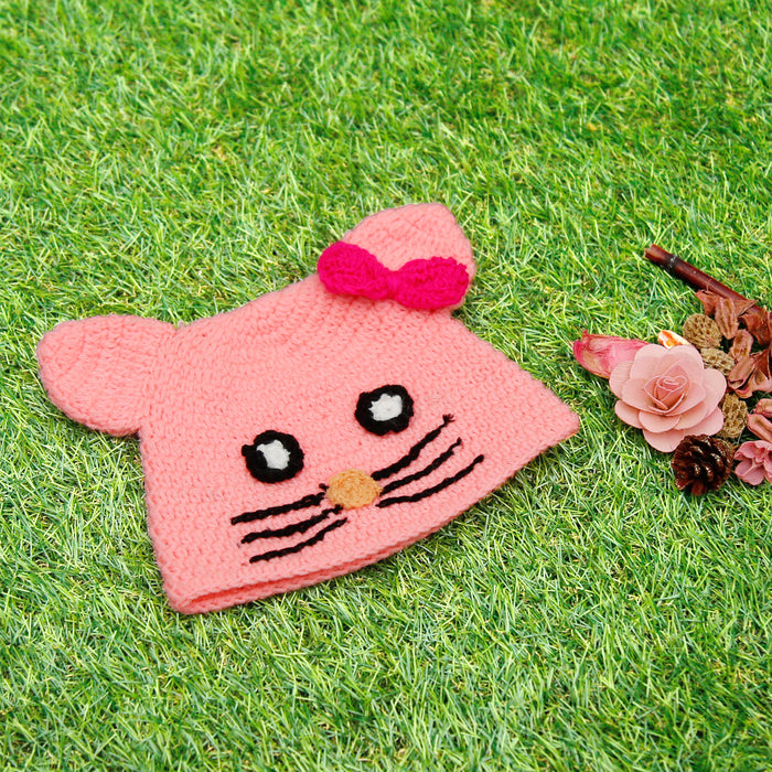 Pure Wool Little Kitty Cap Pink For Babies - Mistics