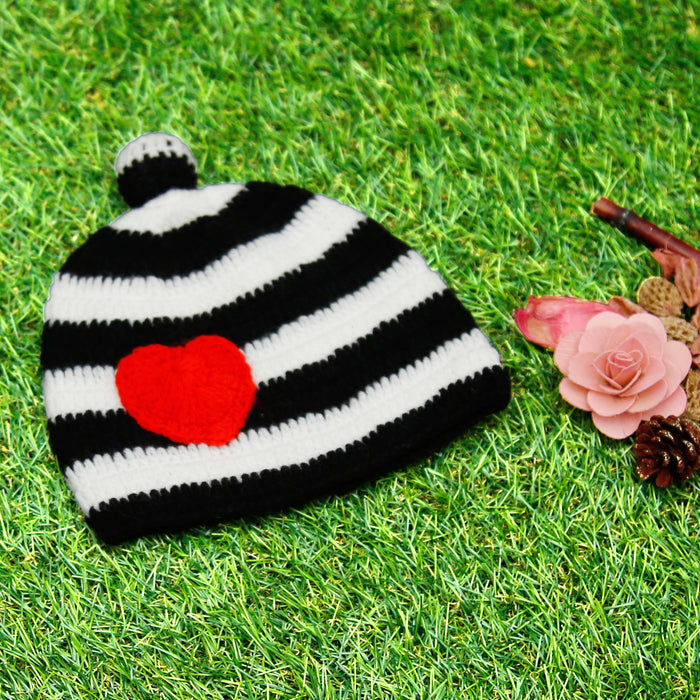 Pure Wool Little Heart Cap For Baby Girls - Mistics