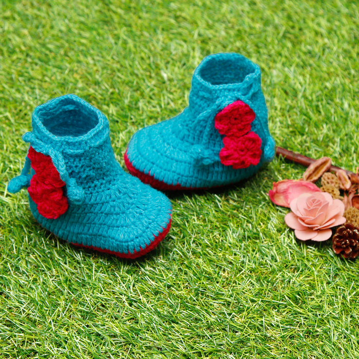 Pure Wool Blue and Fuschia Booties - Mistics