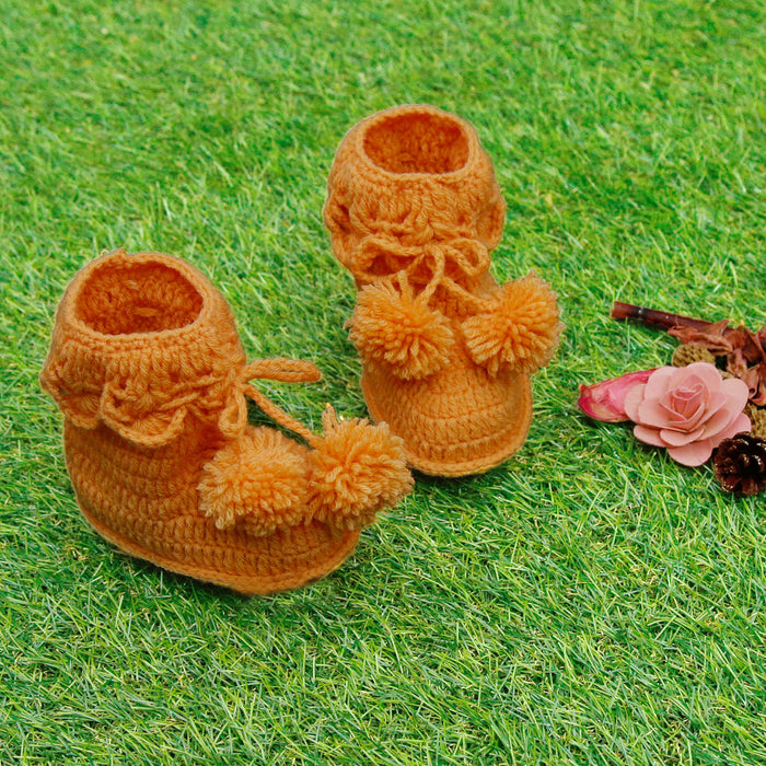 Pure Wool Cute Orange Booties - Mistics