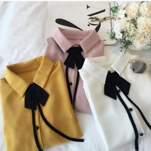 Bow Tie Frill Sleeves Tops - Mistics