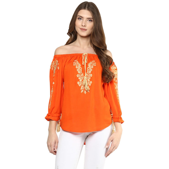 Off Shoulder Orange Top - Mistics