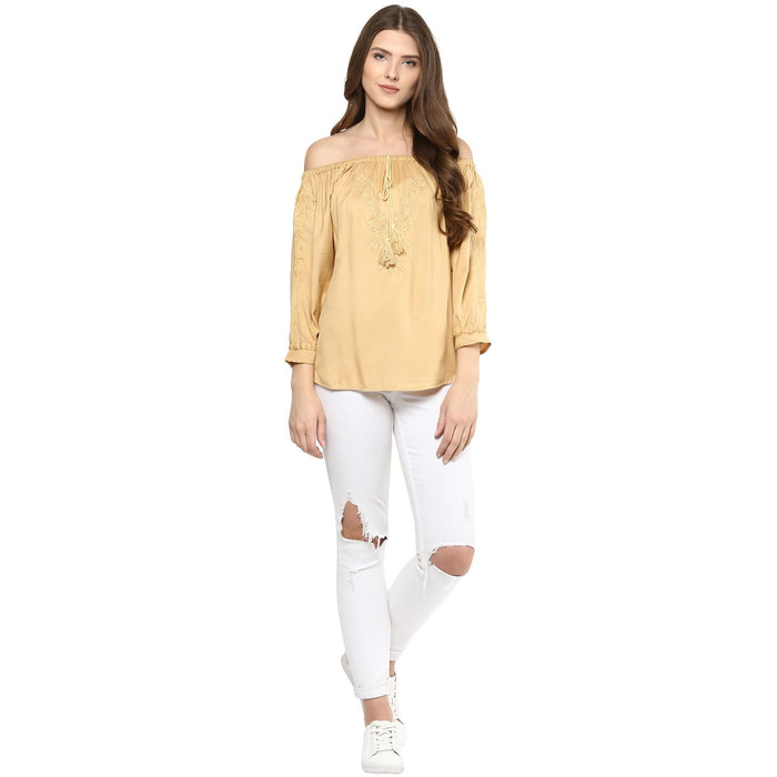 Off Shoulder golden Top - Mistics