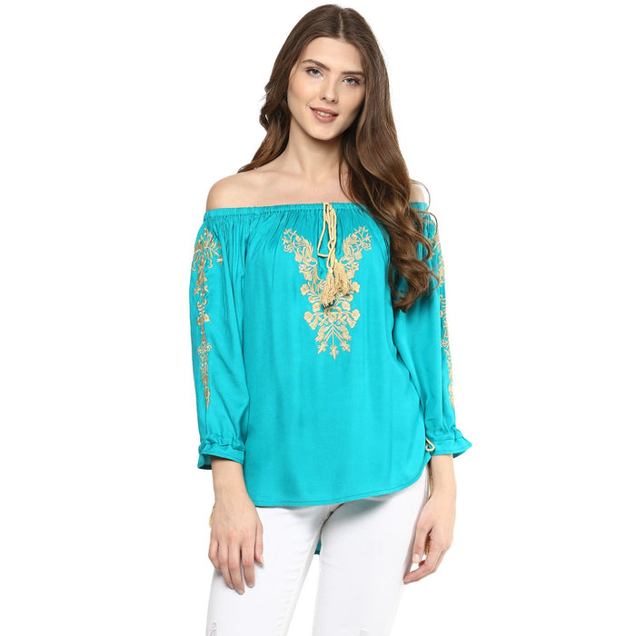 Off Shoulder light blue Top - Mistics