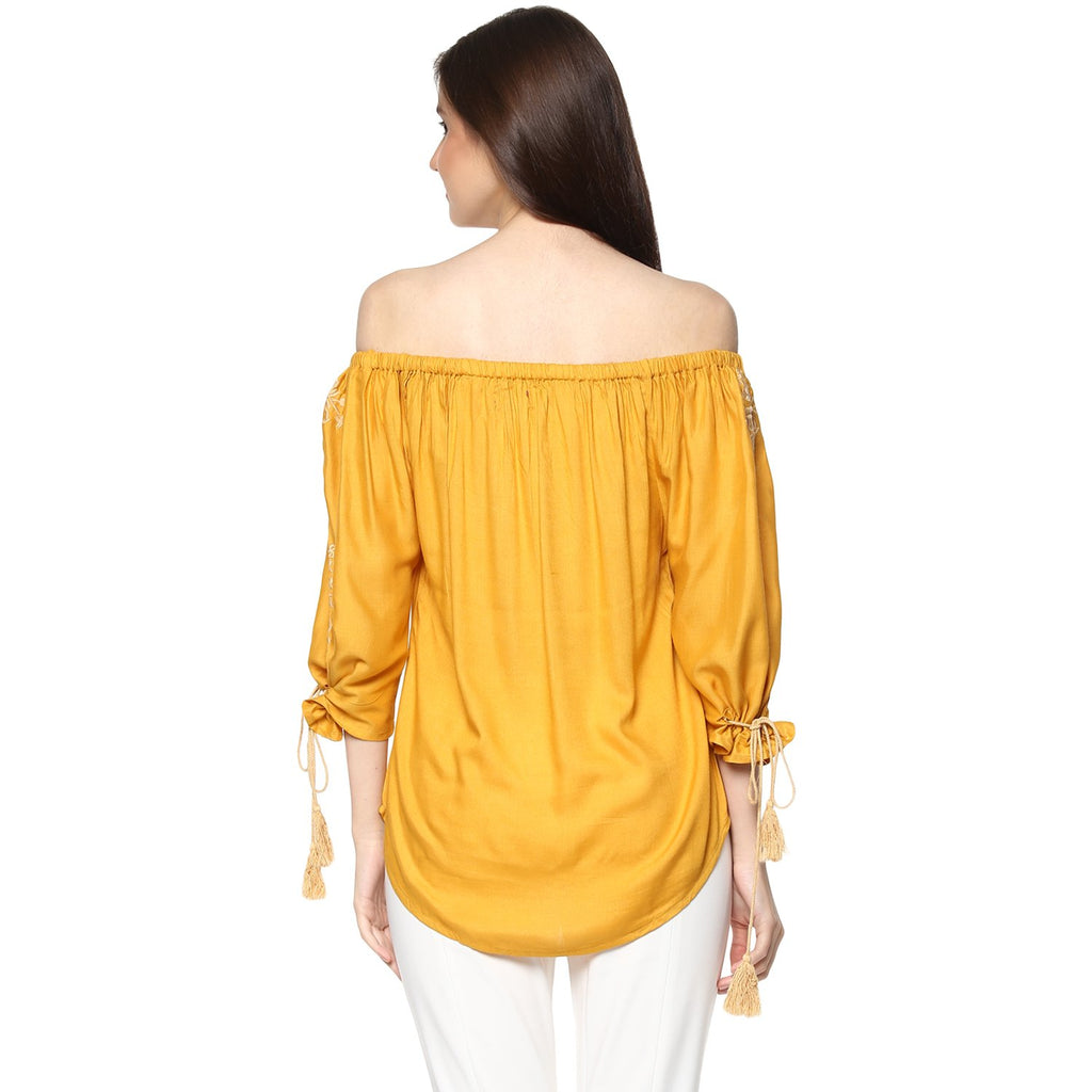 Off-Shoulder Mustard Top - Mistics
