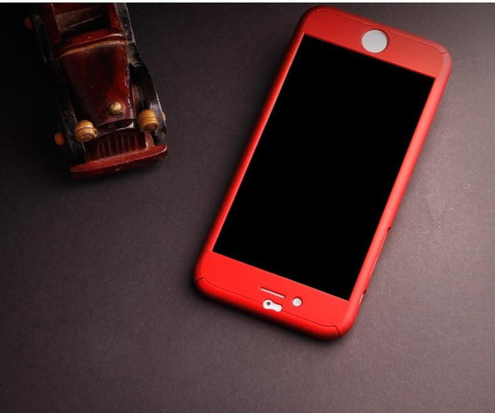 TUZECH IPHONE 360 SMART CASE WITH LOGO VISIBLE + FREE TEMPER-GUARD (RED COLOUR) - Mistics