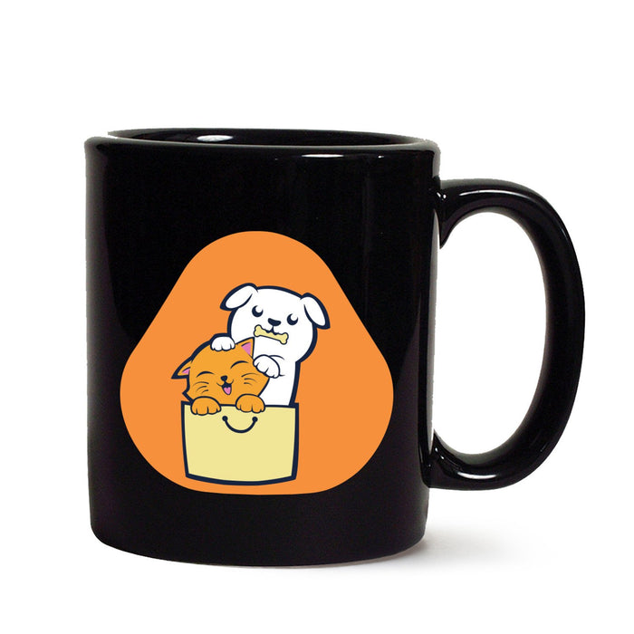 Kitty Puppy Buddies Black Mug - Mistics