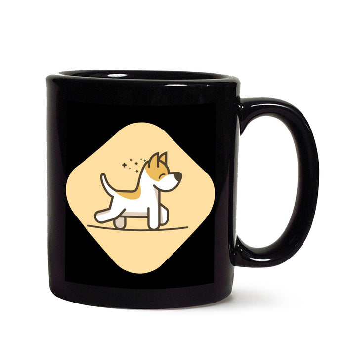 Happy Puppy black mug