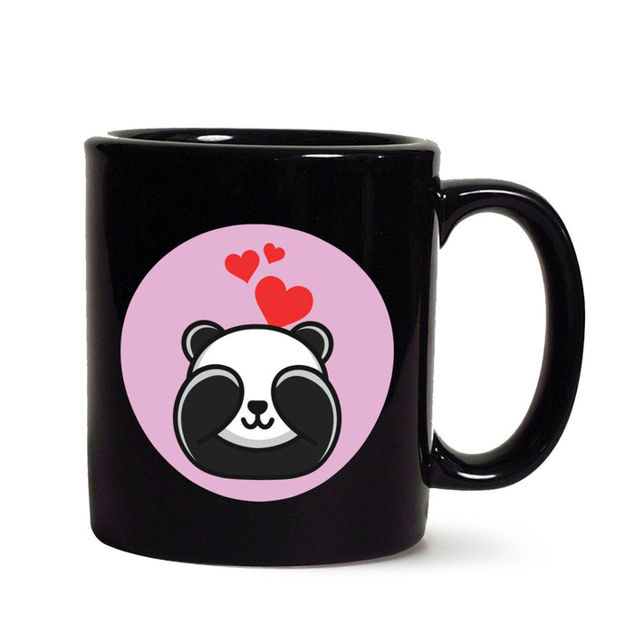 Panda In Love Black Mug - Mistics