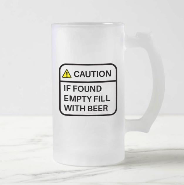 Caution Frosted Beer Mug - Mistics