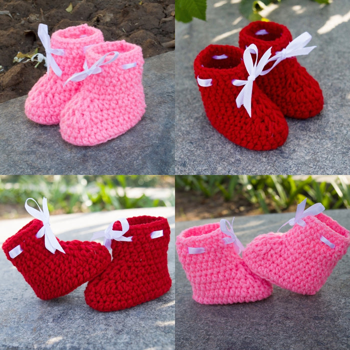Combo of Red & Light Pink Crochet  Woolen Baby Booties - Mistics