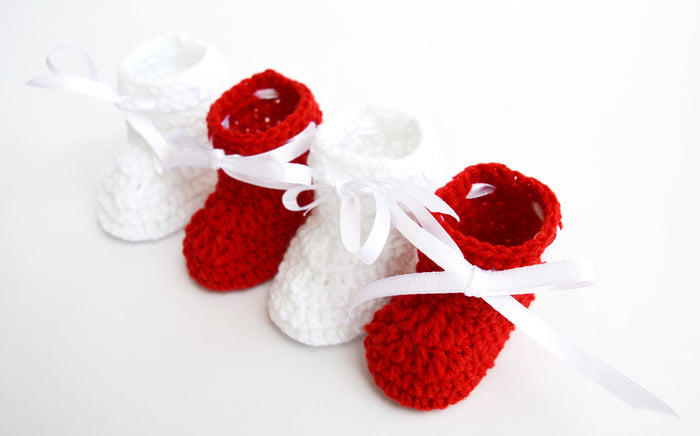 Combo of Red & White Crochet Baby Booties - Mistics