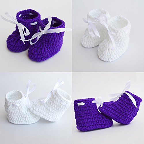 Combo of White & Blue  Crochet  Woolen Baby Booties - Mistics