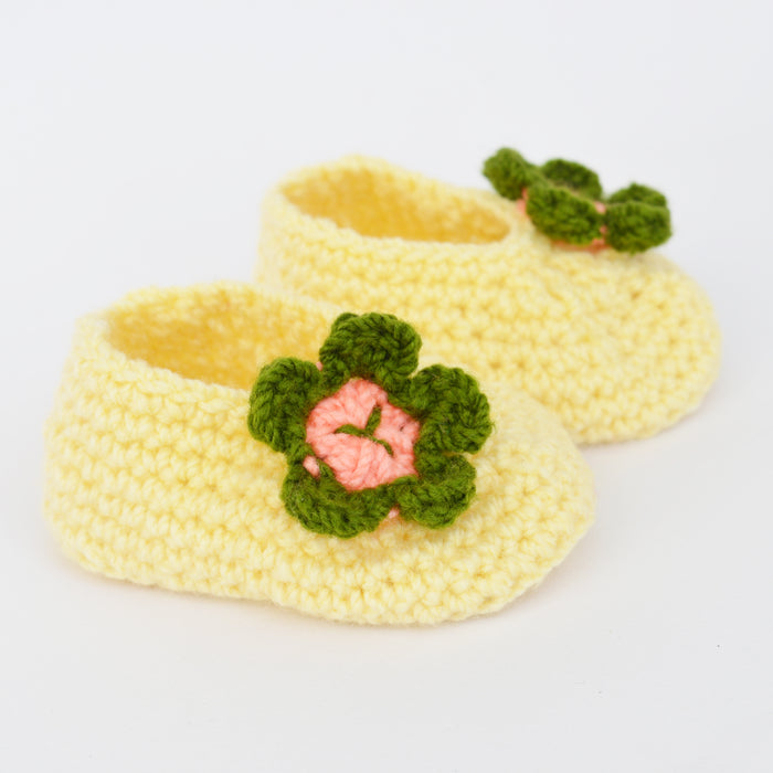 New Born infant Booties - Offwhite with Green Flowe - Mistics