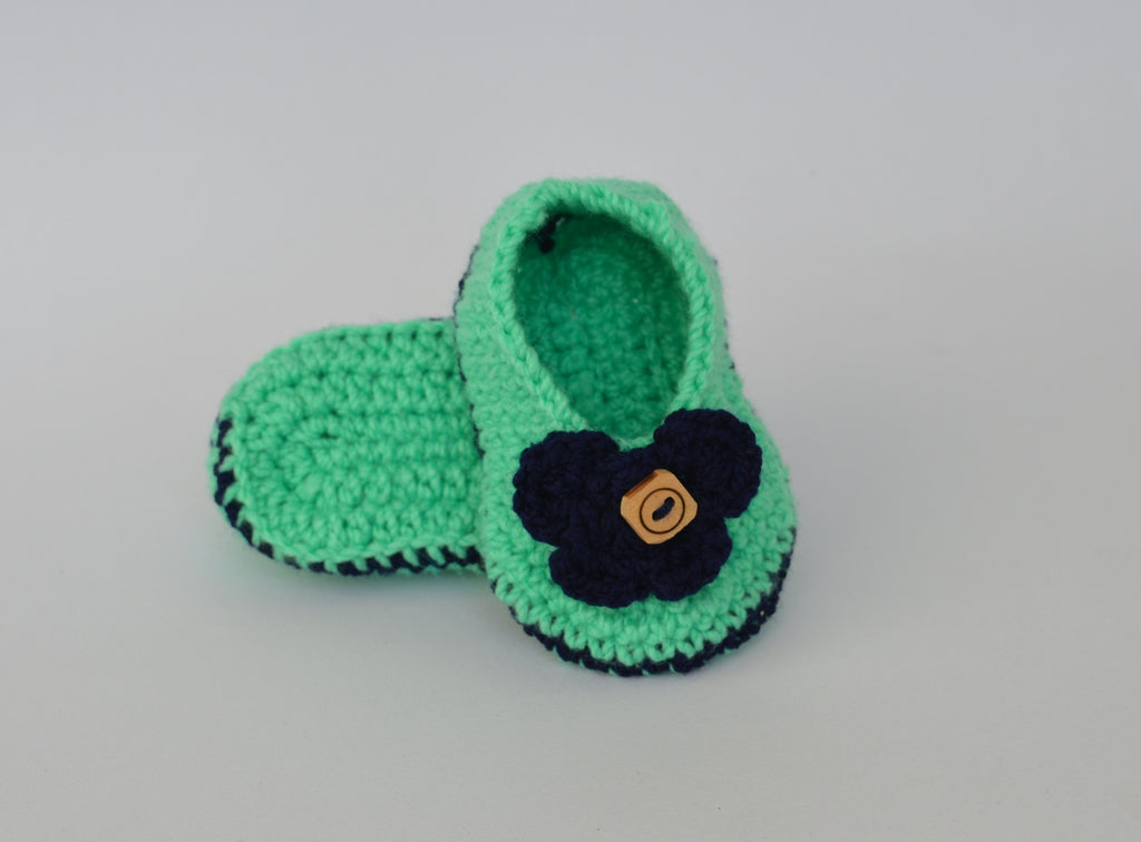 infant Booties - Pista with Blue Flower - Mistics