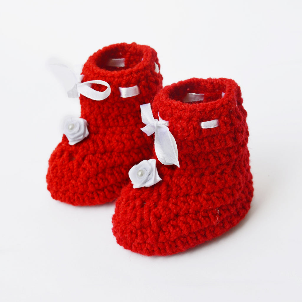 Crochet Baby Booties & Mittens Set - Red - Mistics