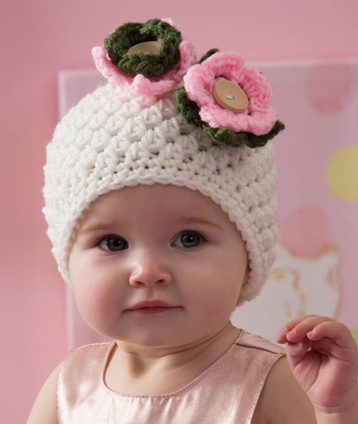 Winter Beanie Hat Cap For Baby Girl  -White & Pink - Mistics