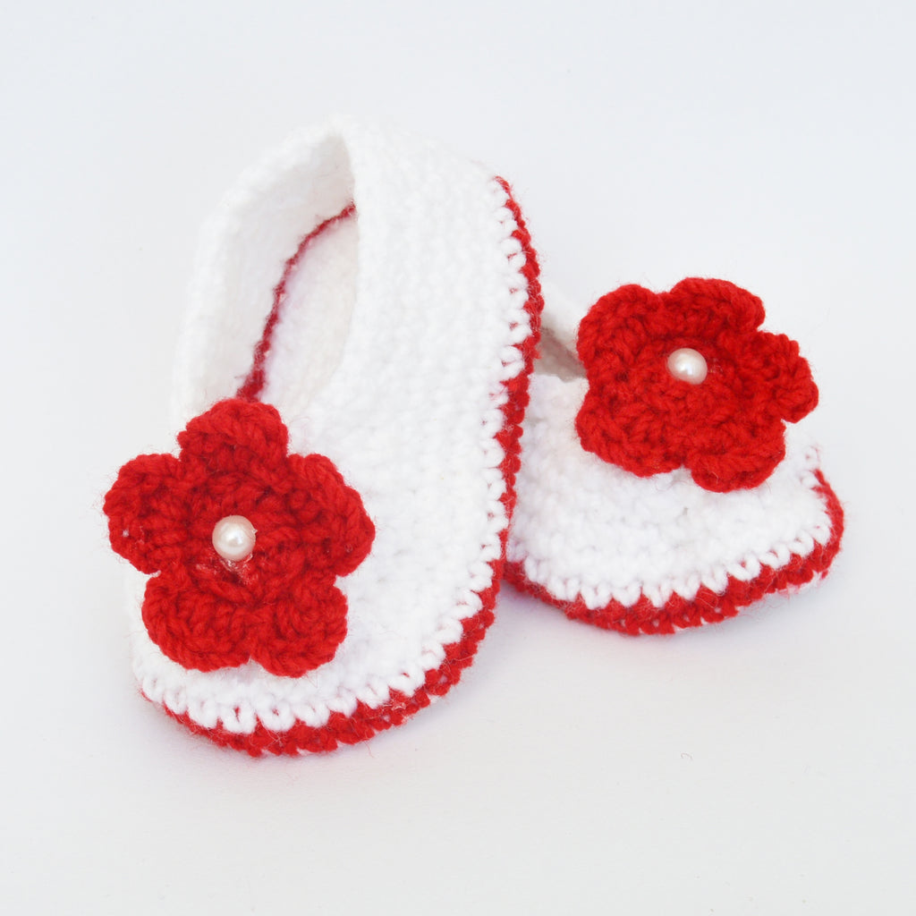 Crochet Baby Booties - White with red Flower Applique - Mistics