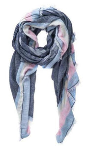 Des Stripe Denim Blue Pink Scarf