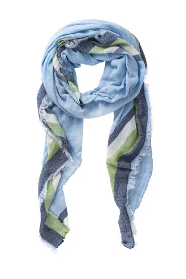 Des Stripe Navy Blue Green Scarf