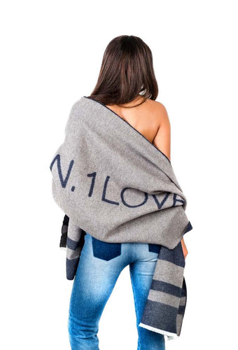 N. 1LOVE Grey & Navy Scarf