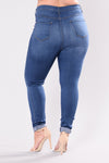 Classic High Waist Skinny Jeans - Medium Blue Wash