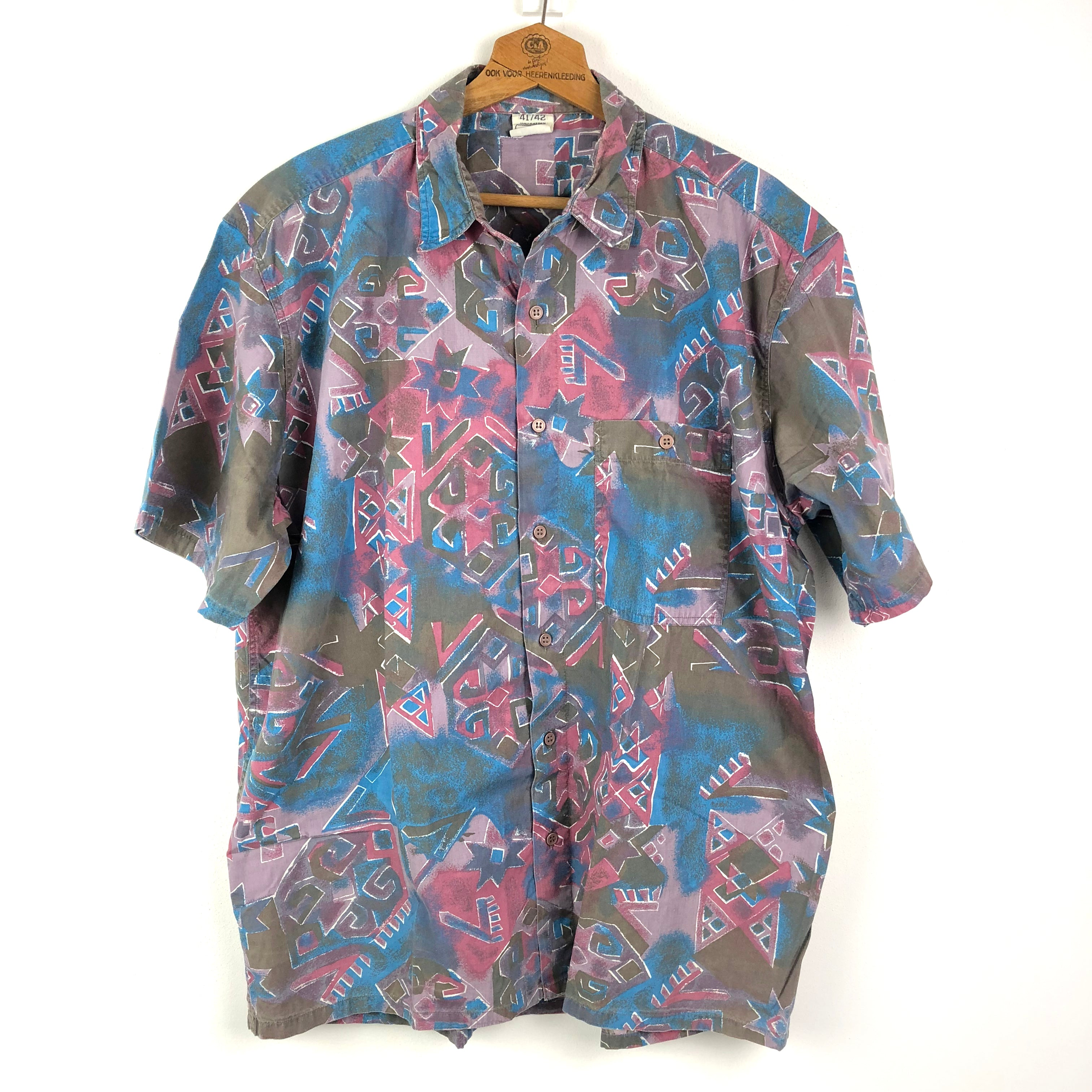 Blauwpaarse vintage oversized 90's herenblouse, mt 40