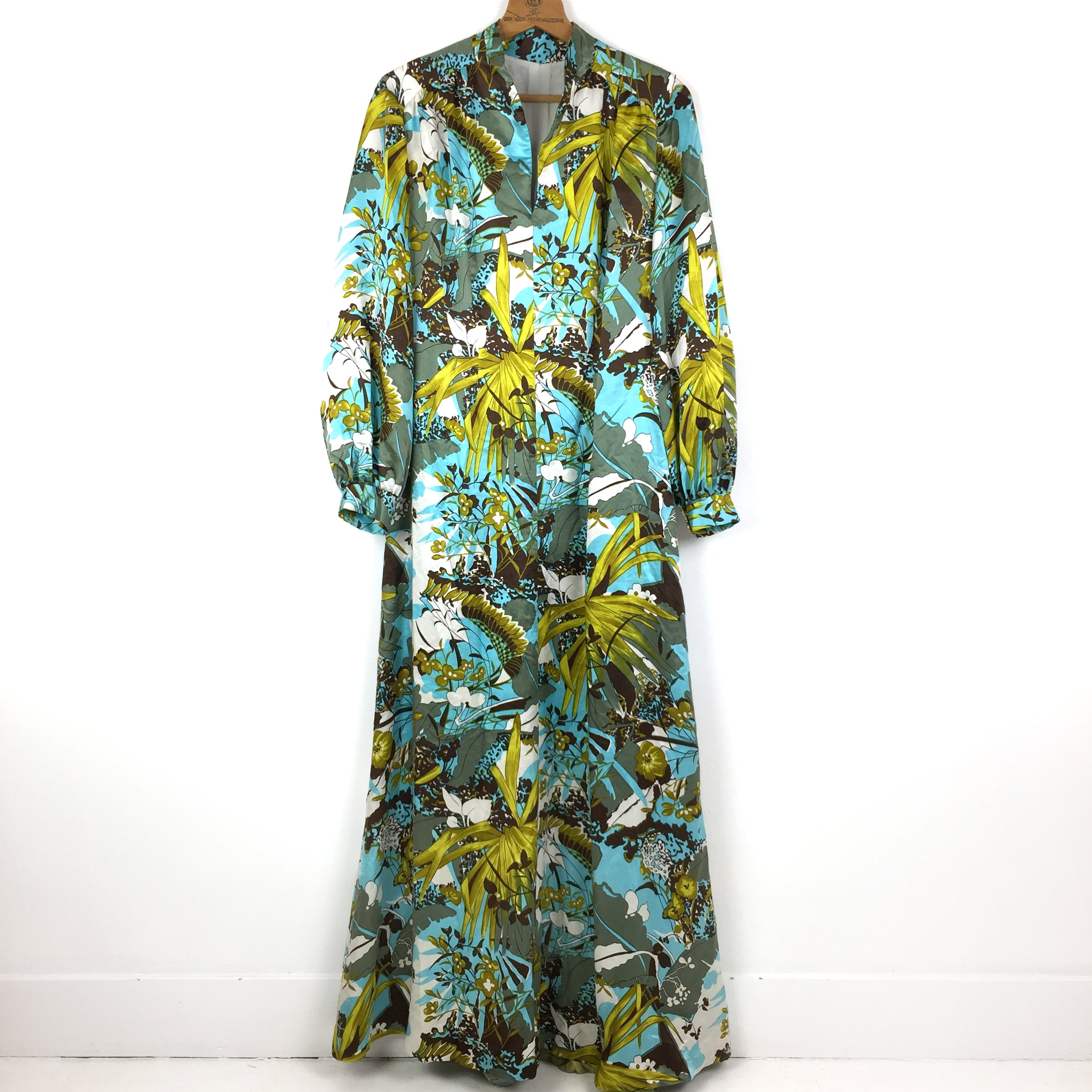 Vintage jaren 70 maxi-dress in aqua tinten, mt 36-38