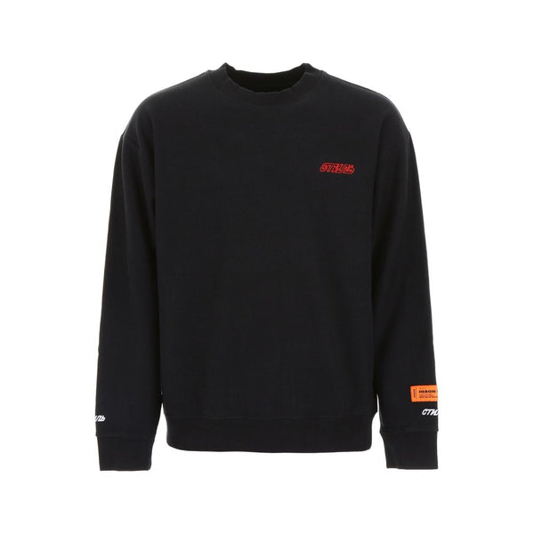 HERON PRESTON STYLE EMBROIDERY CREWNECK BLACK