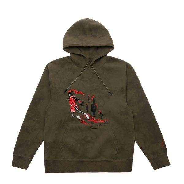 TRAVIS SCOTT JORDAN WASHED SUEDE HOODIE OLIVE