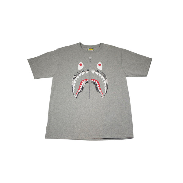 A BATHING APE FOREST CAMO SHARK T-SHIRT