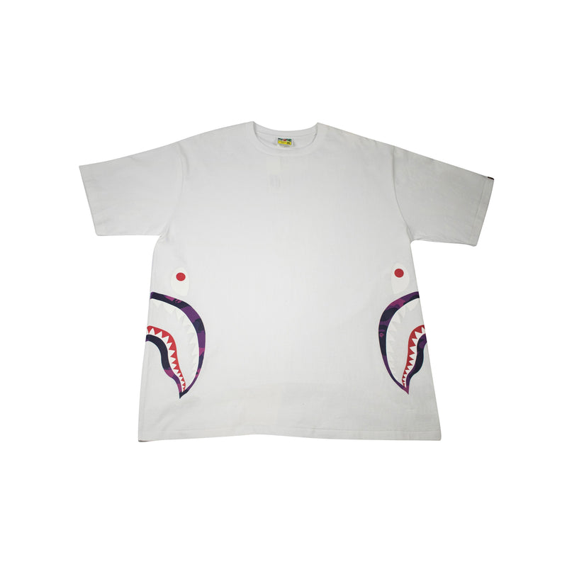 A BATHING APE COLOR CAMO SIDE SHARK T-SHIRT WHITE