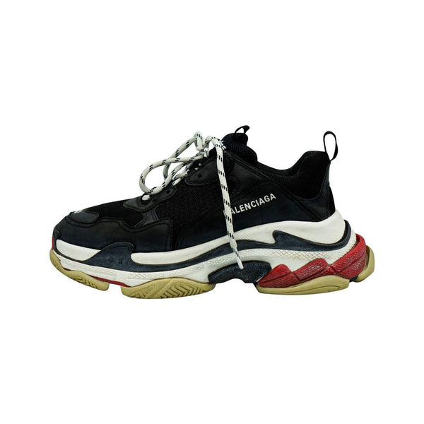 BALENCIAGA TRIPLE S BLACK WHITE RED SNEAKERS