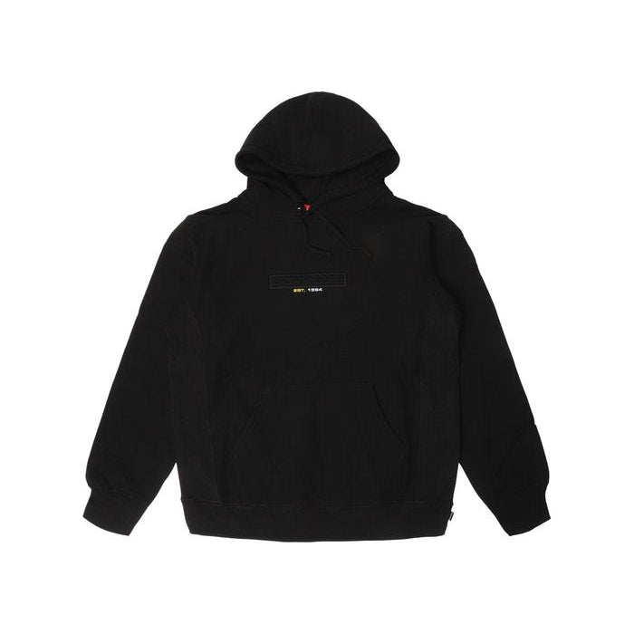 SS18 SUPREME EMBOSSED LOGO HOODED SWEATSHIRT BLACK