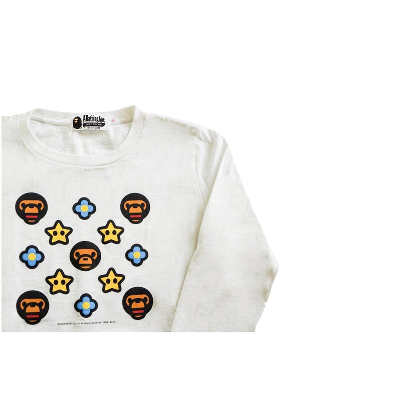 A BATHING APE BABY MILO X NINTENDO MONOGRAM LONG SLEEVE-T-Shirts-A Bathing Ape-S (PRE-OWNED)-HYPESTEIN