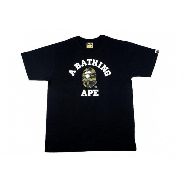 A BATHING APE CAMO COLLEGE TEE BLACK/GREEN-T-Shirts-A Bathing Ape-HYPESTEIN